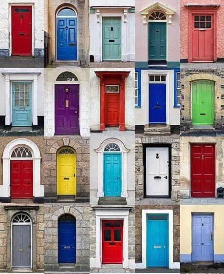 Различни цветови идеи за входната врата